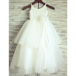 Princess Ivory Floor Length Flower Girl Dress Cotton Tulle Sleeveless