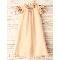 Sheath Champagne Knee Length Flower Girl Dress Chiffon Short Sleeve