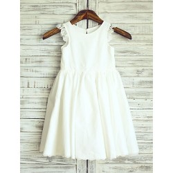 Princess Ivory Knee Length Flower Girl Dress Cotton Sleeveless