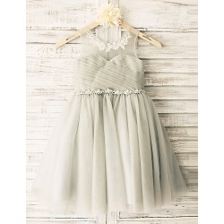 Princess Grey Beaded Sash Knee-length Flower Girl Dress - Tulle Sleeveless