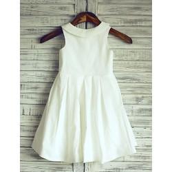 Ivory Peter Pan Neckline Knee Length Flower Girl Dress Cotton Sleeveless