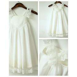 A Line Ivory Cross Back Tea Length Flower Girl Dress Cotton Lace Sleeveless