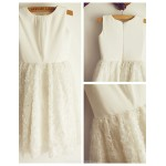 A-line Ivory Knee-length Flower Girl Dress - Lace Sleeveless Flower Girl Dresses