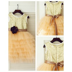 Princess Knee Length Flower Girl Dress Tulle Sequined Sleeveless