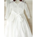 A-line Floor-length Flower Girl Dress - Lace/Satin Long Sleeve Flower Girl Dresses