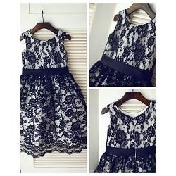 Princess Knee-length Flower Girl Dress - Lace/Satin Sleeveless