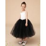 Flower Girl Dress Floor-length Satin/Tulle Ball Gown Sleeveless Dress(Headpiece Not Include) Flower Girl Dresses