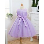 A-line Tea-length Flower Girl Dress - Satin/Tulle Sleeveless Flower Girl Dresses
