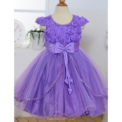 A Line Tea Length Flower Girl Dress Satin Tulle Short Sleeve