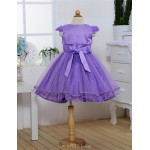 A-line Tea-length Flower Girl Dress - Satin/Tulle Short Sleeve Flower Girl Dresses