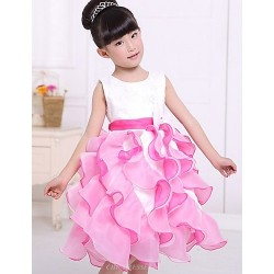 A Line Tea Length Flower Girl Dress Satin Tulle Sleeveless