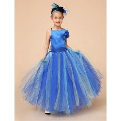 Flower Girl Dress Floor-length Satin/Tulle Ball Gown Sleeveless Dress(Headpiece Not Include)