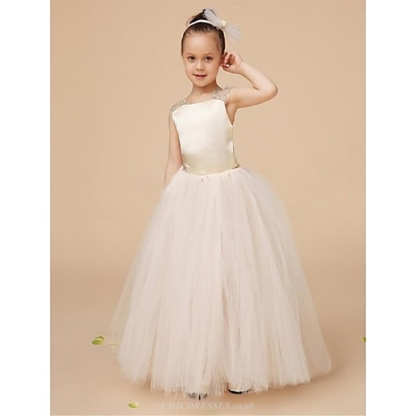 Flower Girl Dress Floor-length Satin/Tulle Ball Gown Sleeveless Dress(Headpiece Include) Flower Girl Dresses