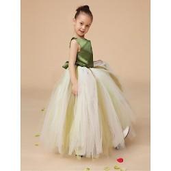 Flower Girl Dress Floor Length Satin Tulle Ball Gown Sleeveless Dress(Headpiece Not Include)