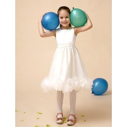 Flower Girl Dress Tea Length Satin Tulle A Line Sleeveless Dress(Headpiece Not Include)