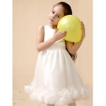 Flower Girl Dress Tea-length Satin/Tulle A-line Sleeveless Dress(Headpiece Not Include) Flower Girl Dresses