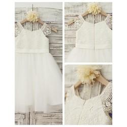 Ball Gown Knee Length Flower Girl Dress Lace Tulle Short Sleeve