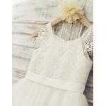 Ball Gown Knee-length Flower Girl Dress - Lace / Tulle Short Sleeve Flower Girl Dresses