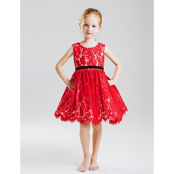 Princess Knee-length Flower Girl Dress - Cotton/Lace Sleeveless