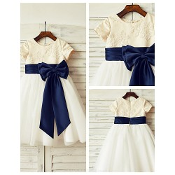 A Line Knee Length Flower Girl Dress Lace Tulle Short Sleeve