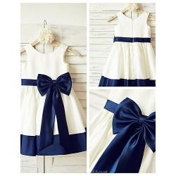 A-line Knee-length Flower Girl Dress - Satin Sleeveless