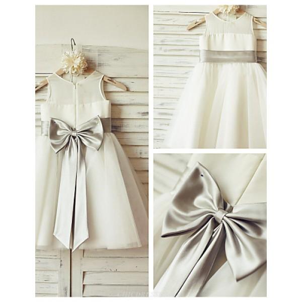 A-line Knee-length Flower Girl Dress - Chiffon / Tulle Sleeveless Flower Girl Dresses