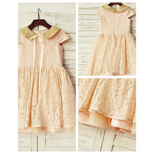 A-line Knee-length Flower Girl Dress - Lace / Sequined Short Sleeve Flower Girl Dresses