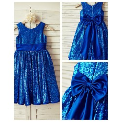 A-line Knee-length Flower Girl Dress - Sequined Sleeveless