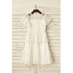 A-line Knee-length Flower Girl Dress - Chiffon / Lace Short Sleeve Flower Girl Dresses