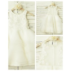 A Line Knee Length Flower Girl Dress Lace Organza Sleeveless