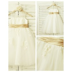 A Line Tea Length Flower Girl Dress Lace Tulle Sleeveless