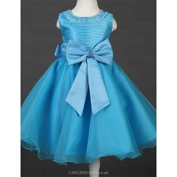 Princess Tea Length Flower Girl Dress Satin Tulle Sleeveless