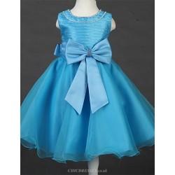 Princess Tea-length Flower Girl Dress - Satin/Tulle Sleeveless