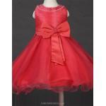 Princess Tea-length Flower Girl Dress - Satin/Tulle Sleeveless Flower Girl Dresses