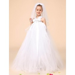 Flower Girl Dress Floor Length Tulle Ball Gown Sleeveless Dress(Headpiece Include)