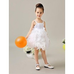Flower Girl Dress Tea Length Satin Ball Gown Sleeveless Dress