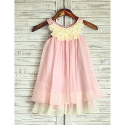 Princess Boho Pink Champagne Knee Length Flower Girl Dress Chiffon Sleeveless