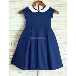 Navy Blue Peter Pan Neckline Knee Length Flower Girl Dress Cotton Short Sleeve