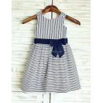 A-line Navy Blue Stripe Knee-length Flower Girl Dress - Cotton Sleeveless Flower Girl Dresses
