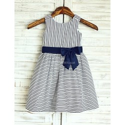 A Line Navy Blue Stripe Knee Length Flower Girl Dress Cotton Sleeveless