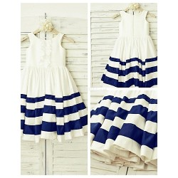 A-line Knee-length Flower Girl Dress - Taffeta Sleeveless