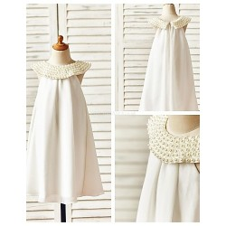 Sheath Column Knee Length Flower Girl Dress Chiffon Sleeveless