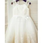 A-line Tea-length Flower Girl Dress - Lace/Tulle Sleeveless Flower Girl Dresses