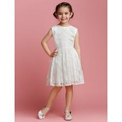 A Line Princess Knee Length Flower Girl Dress Lace Sleeveless