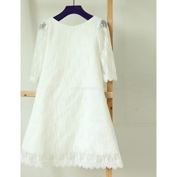Sheath Column Tea Length Flower Girl Dress Lace Long Sleeve