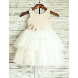 Princess Polka Dots Cupcake Knee Length Flower Girl Dress Linen Tulle Sleeveless