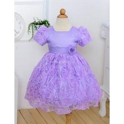 A-line Tea-length Flower Girl Dress - Satin/Tulle Short Sleeve