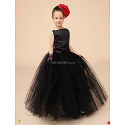 Flower Girl Dress Floor Length Satin Tulle Ball Gown Sleeveless Dress(Headpiece Include)