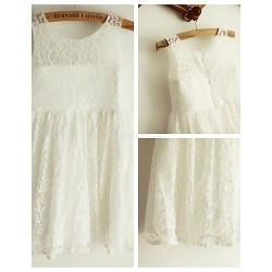 Princess Ivory Knee Length Flower Girl Dress Lace Sleeveless