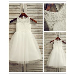 Flower Girl Dress Ankle Length Lace Tulle A Line Sleeveless Dress